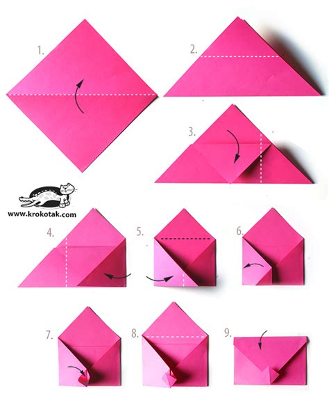 How To Fold Envelope Origami - krokotak envelope origami