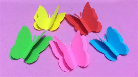 Color Paper Crafts - how to make butterfly with color paper paper