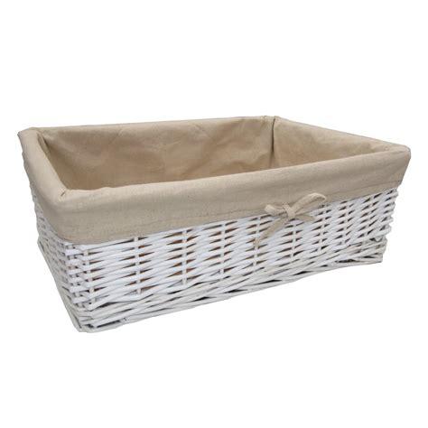 white with baskets white wicker rectangular storage basket