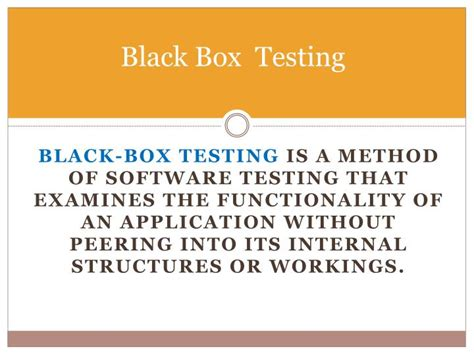 black box testing ppt types of software testing powerpoint presentation