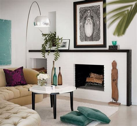 white modern living room with awesome mantle decoration