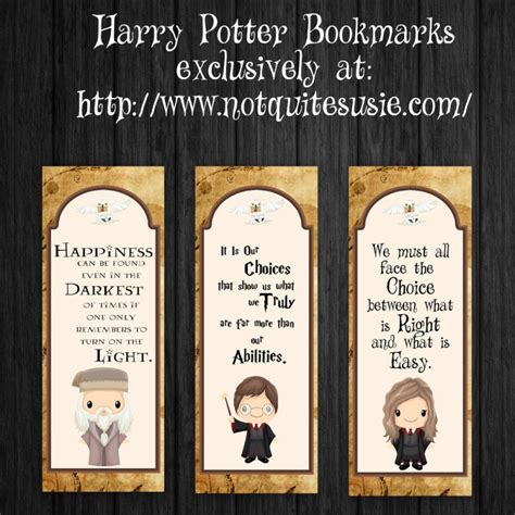 printable bookmarks harry potter free printable harry potter bookmarks not quite susie