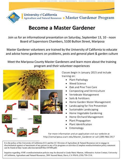 Master Gardener Certification by Mariposa Master Gardener Meeting To Be Held On
