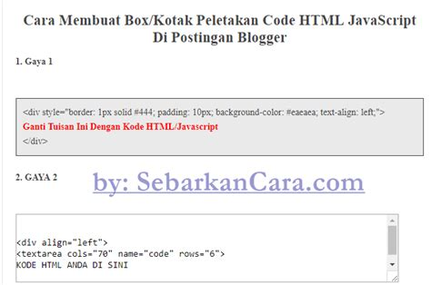 membuat query di javascript cara membuat kotak html javascript di postingan blogger
