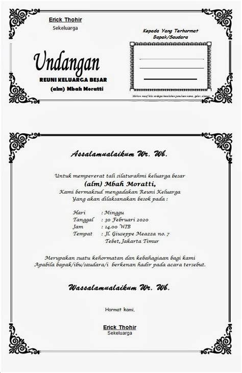 contoh surat undangan reuni keluarga contoh isi undangan