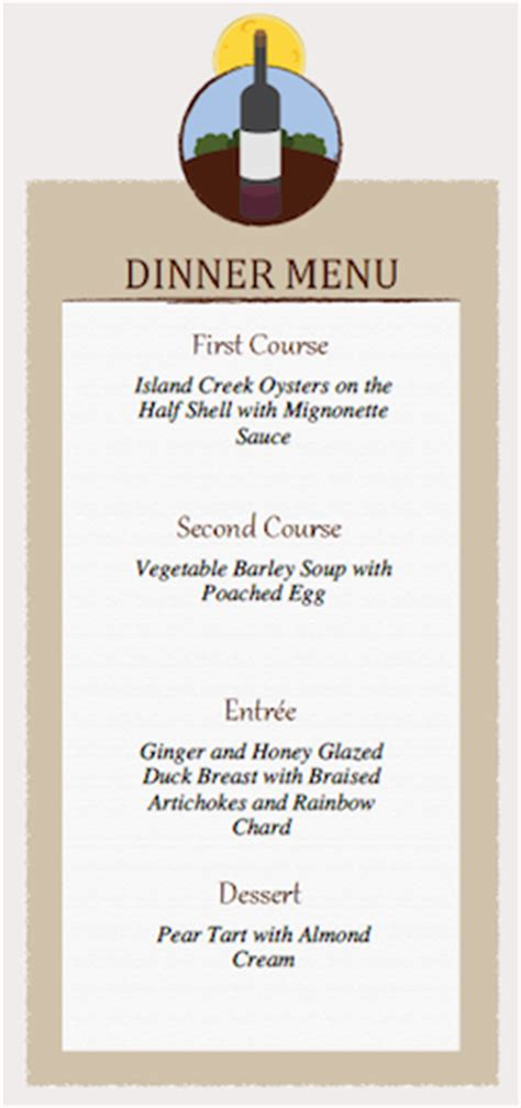 dinner menu card template 7 best images of printable dinner menu templates