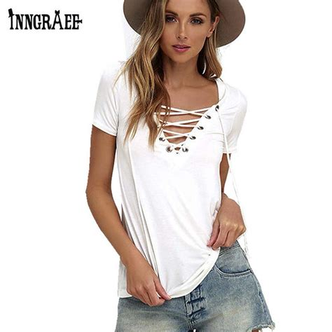 21384 White Casual Top inngraee 2017 white t shirt v neck bandage black tshirt casual tops and tees for