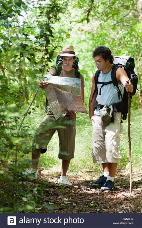 Reading Lost by Lost Hikers Reading Map Stock Photo Royalty Free Image