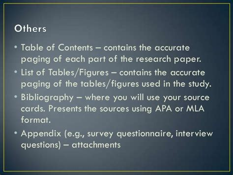 what are the different parts of a research paper 5 parts of research paper