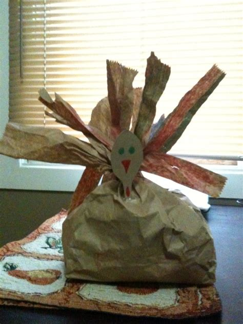 Thanksgiving Paper Bag Crafts - stuffed paper bag turkey craft in the capital