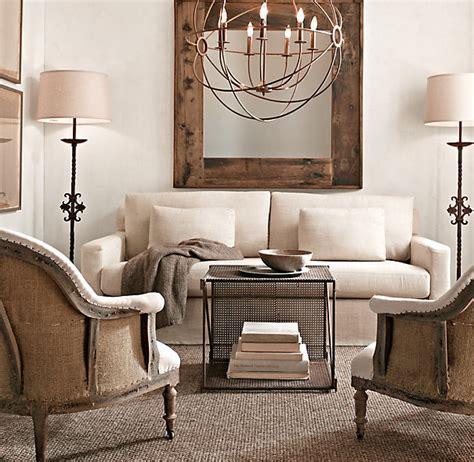 restoration hardware living room love the chandelier