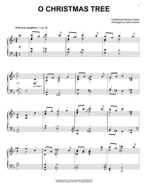 traditional german carol o christmas tree sheet music