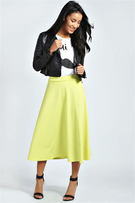 boohoos womens arianna plain circle midi skirt ebay