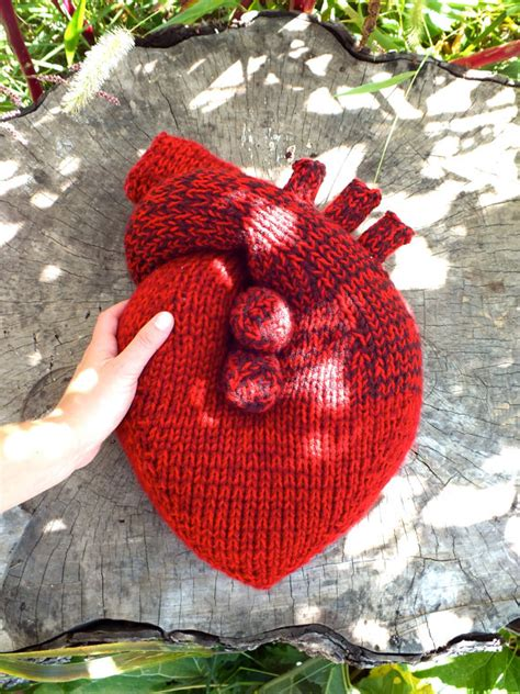 knitting pattern anatomical heart hand knit i give you my heart pillow anatomical