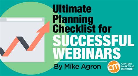Webinars Ultimate Planning Checklist For Success Webinar Success Templates