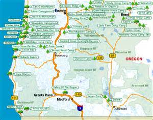 oregon map of csites places to c and hike in