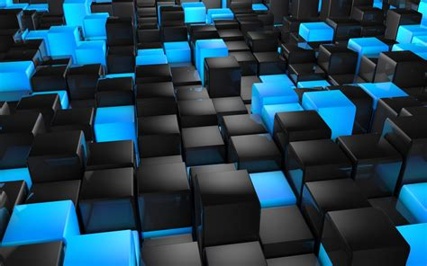 3d view abstract blue black cubes 3d wallpapers