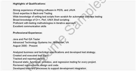 Java And Perl Qa Tester Sle Resume by Resume Sles Java And Perl Qa Tester Resume Sle