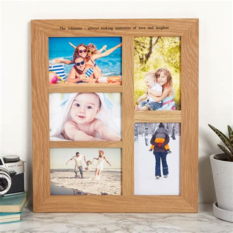 in frame personalised solid oak multi photo frame by mijmoj design