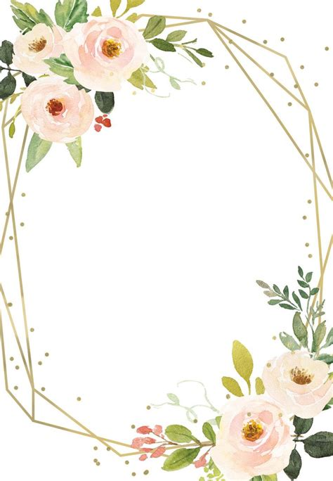 polygonal frame  flowers quinceanera invitation