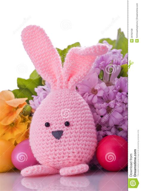 Handmade Easter - handmade easter bunny with easter eggs royalty free stock