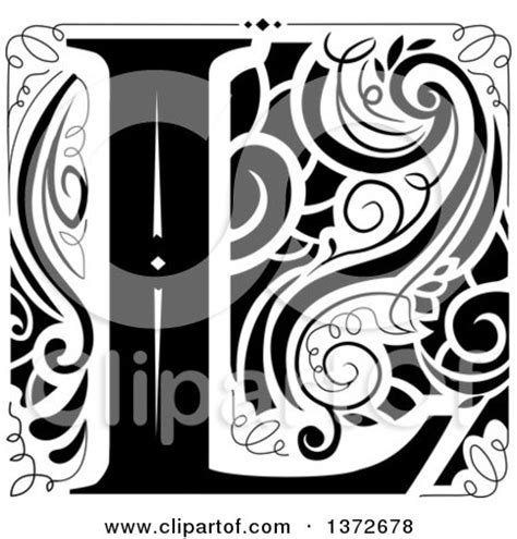 black and white l royalty free rf monogram clipart illustrations vector
