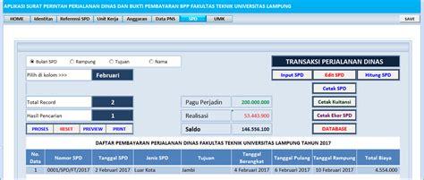 Surat Tugas Perjalanan Dinas Dan Anggaran by Aplikasi Excel Surat Perintah Perjalanan Dinas Sppd