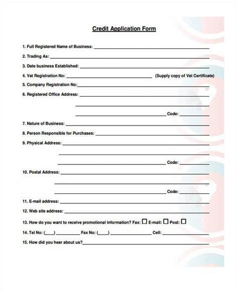 standard credit application template standard credit application template free business credit