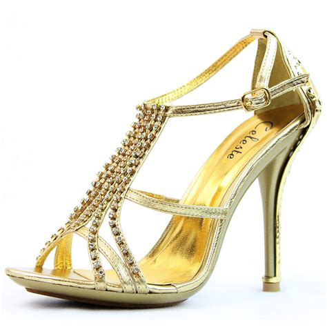gold high heel sandals evening gold strappy sandals evening stiltto high heel rhinestones