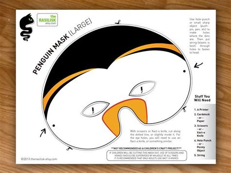 printable penguin mask template penguin party mask halloween mask costume mask printable pdf