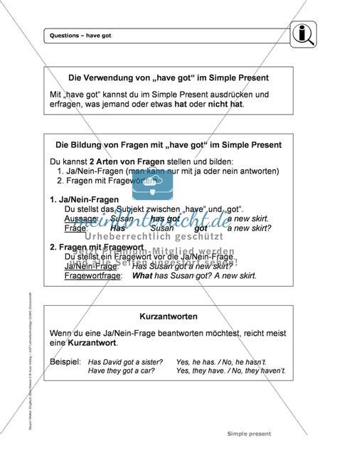 Simple Quiz About Me Seri 2 simple present bei questions mit got erkl 228 rung 220 bungen l 246 sungen meinunterricht