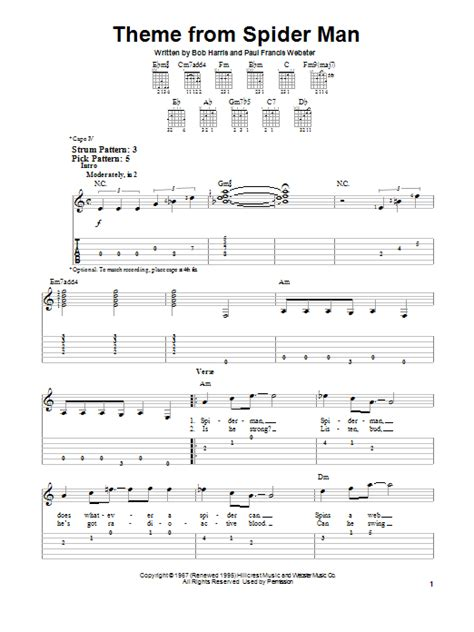 theme song spiderman theme from spider man by bob harris easy guitar tab