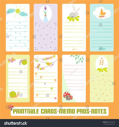 Memo Template Vector Summer Cards Notes Labels Tags Stock Vector