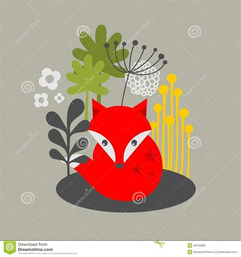 how to create a retro fox illustration in adobe illustrator vintage fox and flowers print stock vector image 40159938