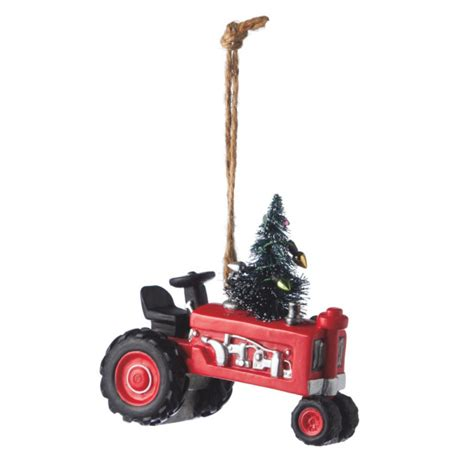 decorated red farm tractor christmas ornament