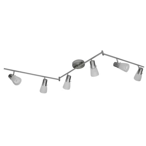 Fixed Track Lighting Fixtures Shop Portfolio 6 Light Brushed Nickel Fixed Track Light Kit At Lowes