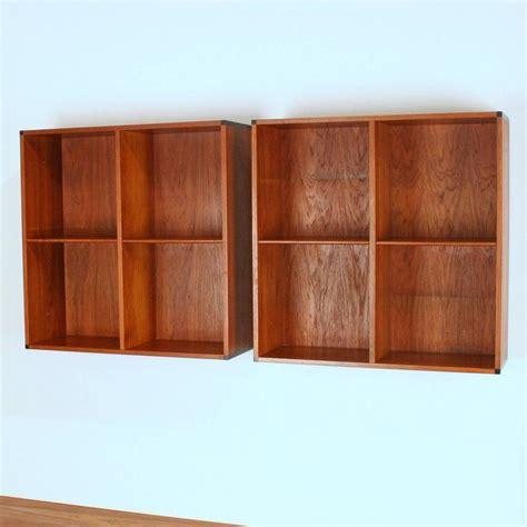 vintage teak wall mounted book shelves at 1stdibs