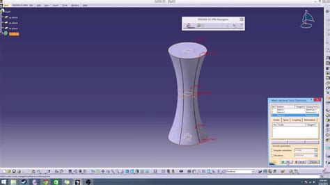 catia section view catia v5 tutorial multi section solid tool youtube