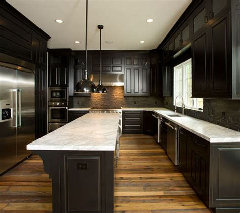 dark kitchen cabinets with dark hardwood floors reclaimed wood floors w dark cabinets home sweet home