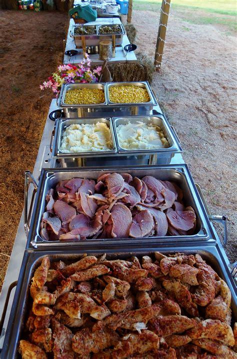 country buffet for a wedding reception an open barn chicken tenderloin in herb sauce