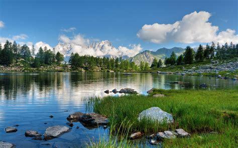 lake stones green grass pine trees rocky mountains