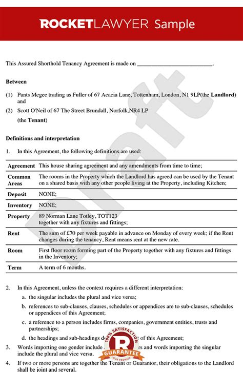 Rental Contract Template Uk by Room Rental Agreement Tenancy Agreement For Rooms In