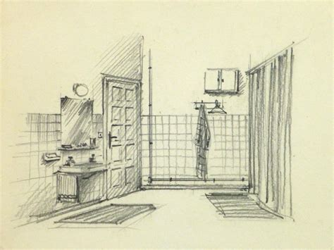 bathroom drawings pencil drawing bathroom interior circa 1950