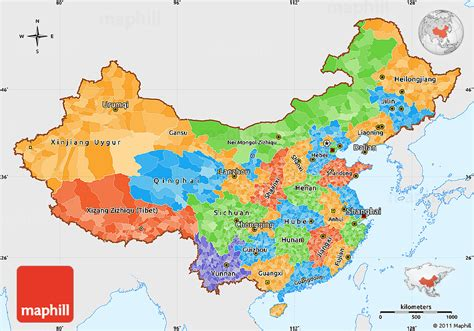 political simple map of china single color outside