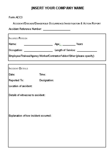 health and safety forms templates health and safety forms