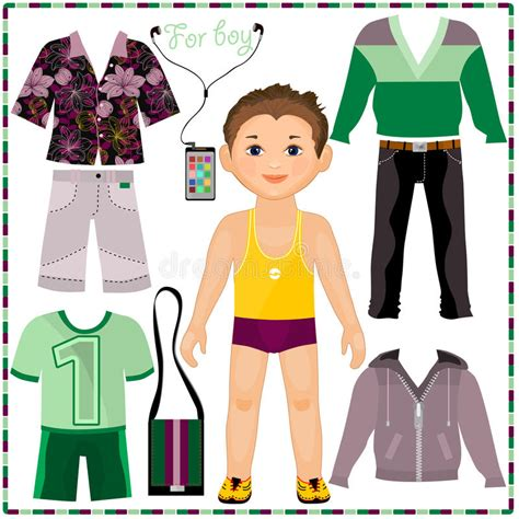 boy cut out stock photos pictures royalty free boy cut paper doll with a set of fashionable clothing cut stock