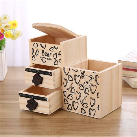 Bear Wooden Pen Holder Kawaii Desk Tidy Organizer Pencil
