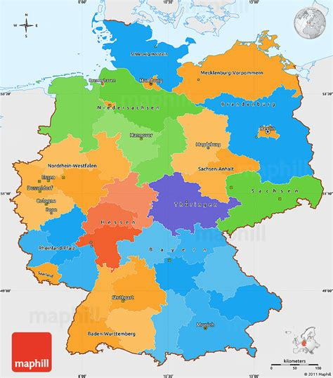 germany map political political simple map of germany single color outside