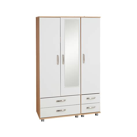 Wardrobe With 3 Drawers by Regal 3 Door 4 Drawer Wardrobe With Mirror Budget Beds