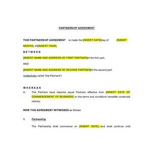 partnership agreement law4us agreement template